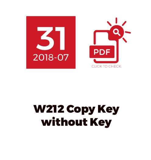 W212 Copy Key Without Key